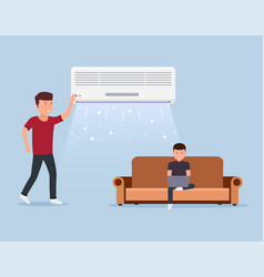 Home air conditioning room with cooling man vector
