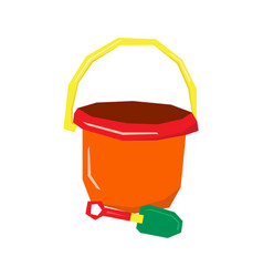 Isolated sand bucket and shovel vector