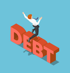 Isometric businessman jumping over debt vector