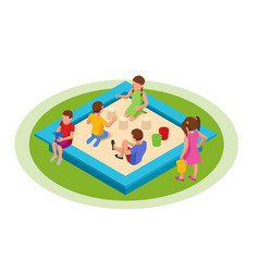 Isometric children play in sandbox toddlers vector