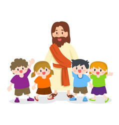 Jesus christ with group of children vector