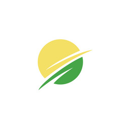 leaf circle logo vector image