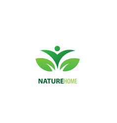 Leaf nature home logo vector
