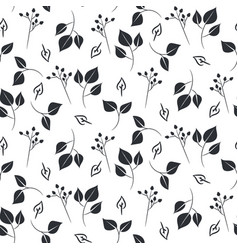leaves and dogrose seamless pattern vector image
