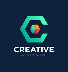 letter c logo creative logotype a stylized and vector image