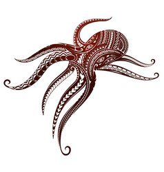 Maori style octopus tattoo vector