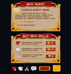 Medieval game GUI pack 6 vector image