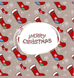 merry christmas socks pattern vector image