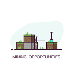 mining line style banner vector image