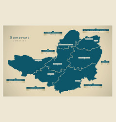 Modern map - somerset county with district labels vector