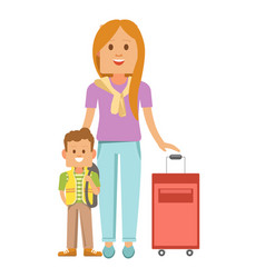 Mother and son with suitcase ready to travel vector