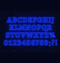 neon blue font bright capital letters with vector image