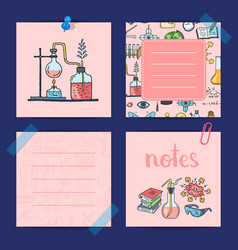 Notes templates set with sketched science vector