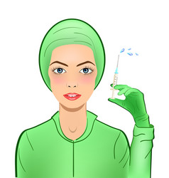Nurse with injector squirt with medicine vaccine vector
