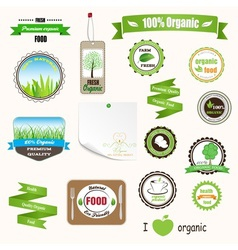 Organic labels logos and stickers vector image