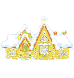 ornate log house under snow vector image