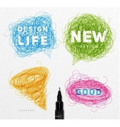 Pen tangle elements color vector