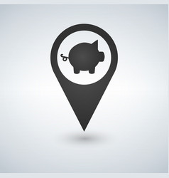 Pig flat pin map icon map pointer map markers vector