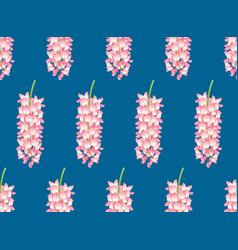 Pink wisteria on indigo blue background vector