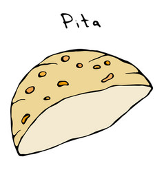 Pita pocket bread arabic israel healthy fast food vector