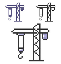 Pixel icon tower crane in three variants fully vector