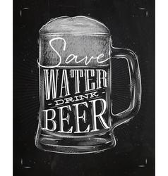 Poster drink beer chalk vector image