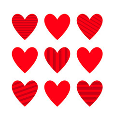 red heart icon set cute line pattern happy vector image