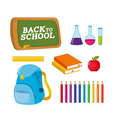 Set blackboard with erlenmeyer flask and books vector