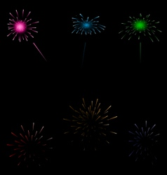 Set colorful fireworks on dark background vector image