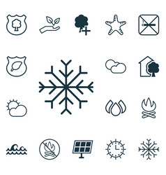 set of 16 ecology icons includes cloud cumulus vector image