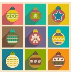 Set of flat icons with long shadow Christmas balls vector