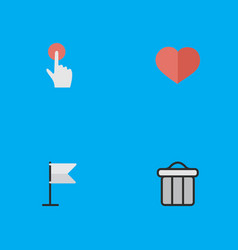 Set of simple interface icons elements heart vector