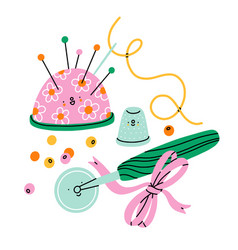 Sewing cartoon accessories and supplies vector