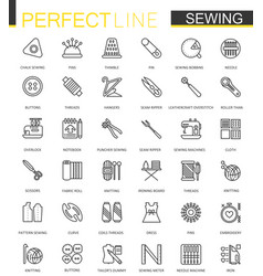 Sewing equipment thin line web icons set outline vector