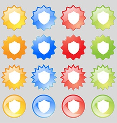 Shield Protection icon sign Big set of 16 colorful vector