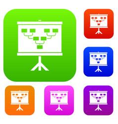 Soccer or football field scheme set color vector