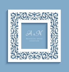 square frame with cutout paper swirls vector image