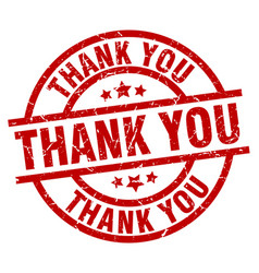 Thank you round red grunge stamp vector