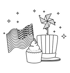 tophat with cupcake and usa flag wind toy vector image
