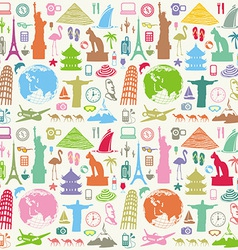 Travel seamless background vector image