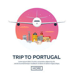 travel to portugal skyline flat vector image