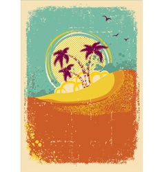 tropical island on vintage old background with vector image