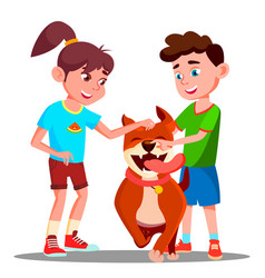 two children petting a happy dog isolated vector image