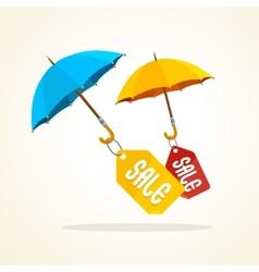 Umbrellas with sale stickers Flat Design vector