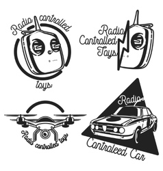 Vintage radio controlled toys emblems vector