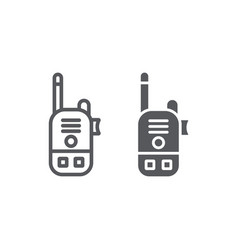 Walkie talkie line and glyph icon communication vector