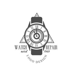 Watch repair estd 1969 logo design monochrome vector