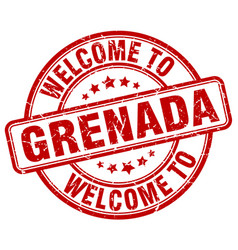 Welcome to grenada red round vintage stamp vector