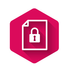 White document and lock icon isolated with long vector