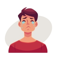 Young man face crying facial expression vector image